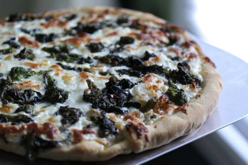 Broccoli rabe and sunchoke pizza