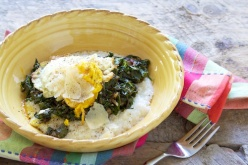 Swiss chard with Parmesan, grits and eggs