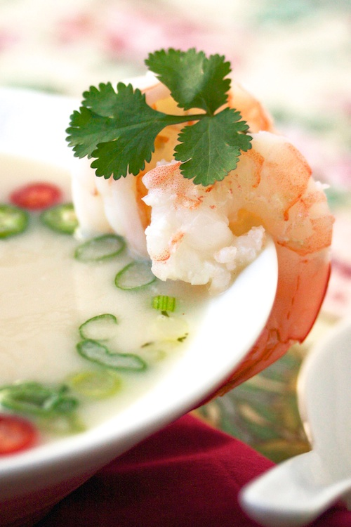 Thai Hot and Sour Shrimp Broth with Coconut Milk