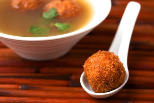 Thai Hot and Sour Shrimp Broth with Shrimp Balls