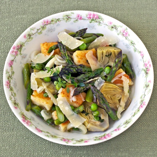 Spring vegetable ragout with gnocchi