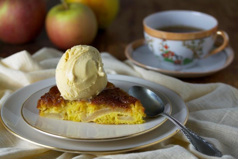 Caramelized Apple Cake with Maple Ice Cream