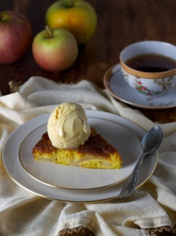 Caramelized Apple Cake with Maple Ice Cream
