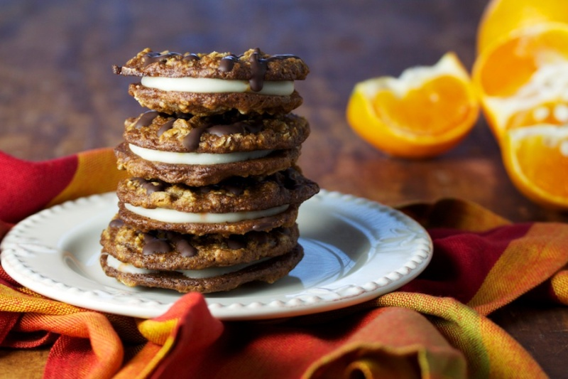 Orange-filled triple ginger oatmeal cookies