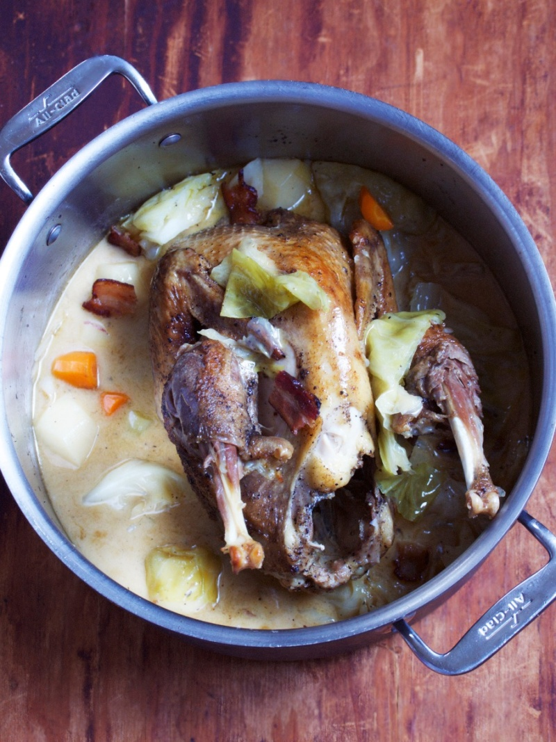 Guinea hen with cabbage