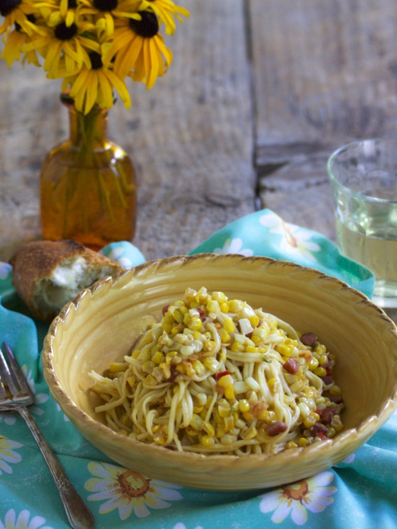 Pasta with Corn, Country Ham and Peppers