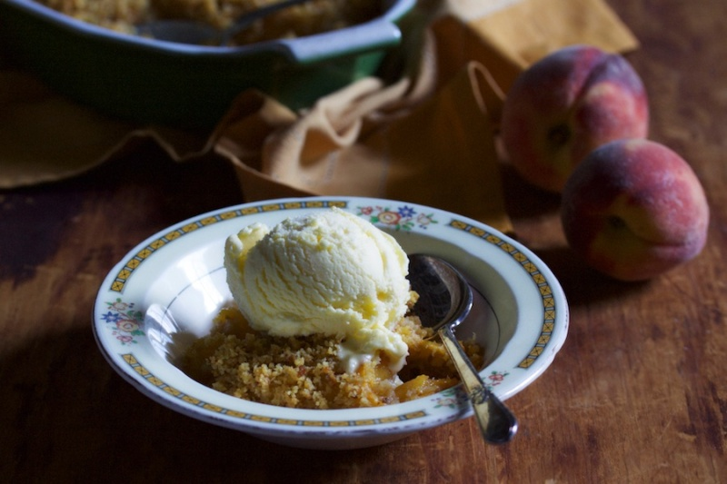 Peach Ginger Rosemary Brown Betty