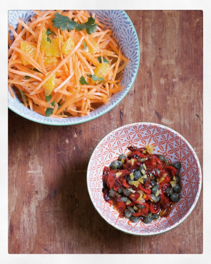 Carrot Orange Salad and Roasted Red Pepper Salad