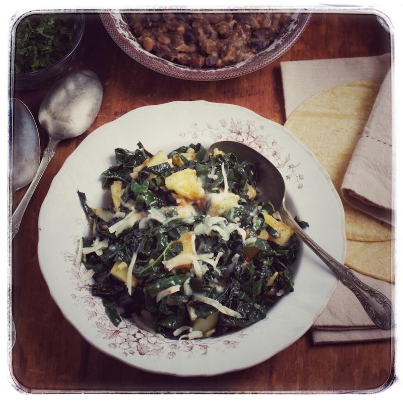 Kale and potato taco filling