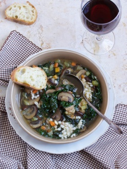 Beef and Barley Soup with Meatballs, Kale and Mushrooms