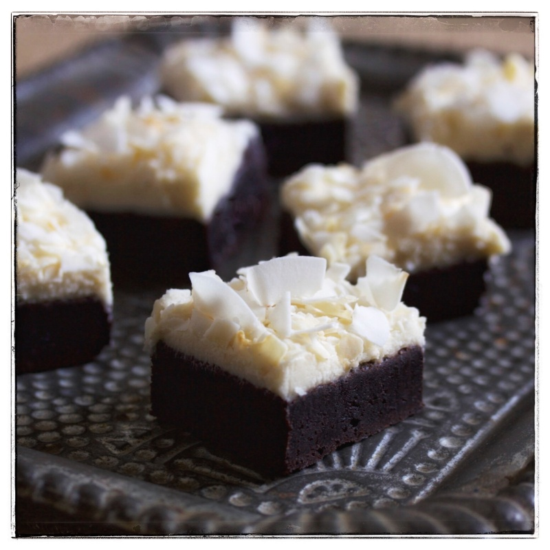 Cocoa brownies with coconut icing