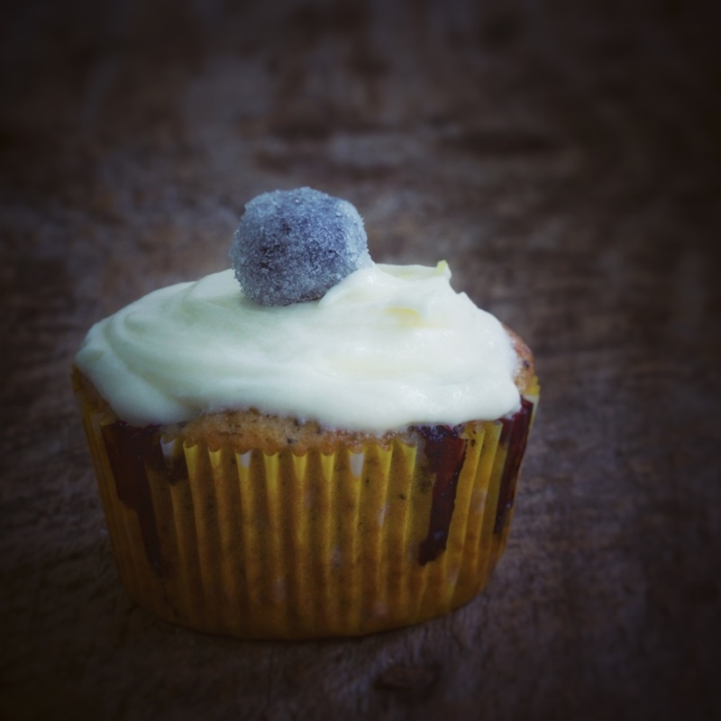 Banana Blueberry Poppy Seed Cupcake
