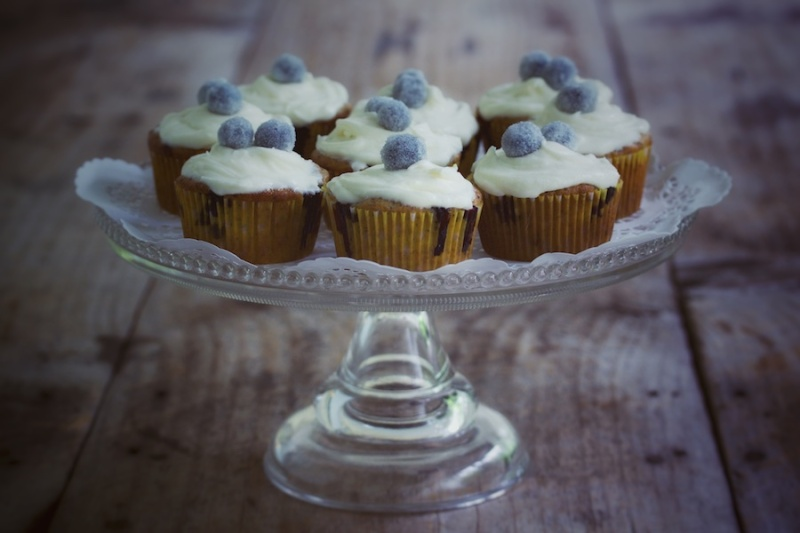 Banana Blueberry Poppy Seed Cupcakes