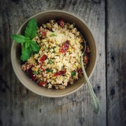 Double couscous with roasted corn and oven-dried tomatoes