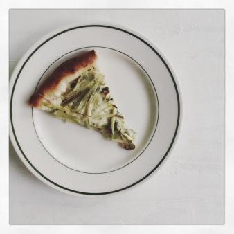 White sauce. Buffalo mozzarella. Asparagus. Green garlic. Scallions. Parmesan.