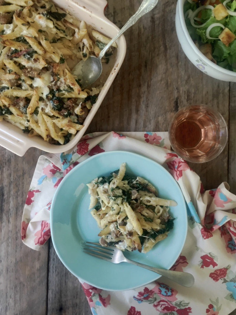 Brooming out chard, kale and sausage with baked pasta | Gourmandistan