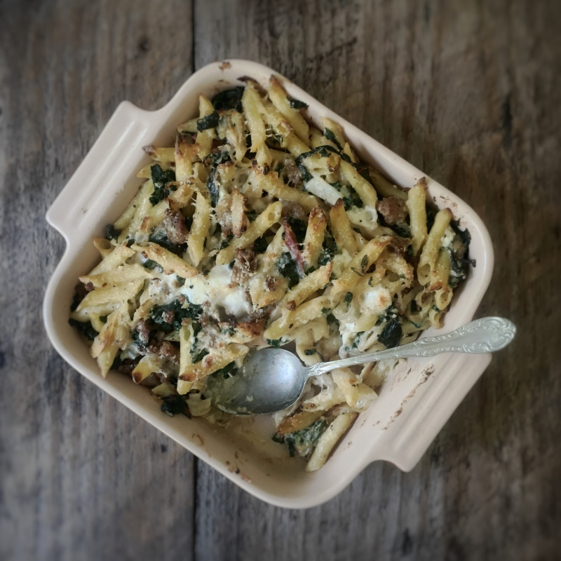 Brooming Out Chard Kale And Sausage With Baked Pasta Gourmandistan